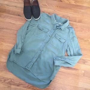 Madewell green utility button down top shirt