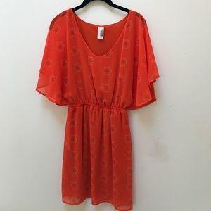 Anthropologie Birdcage Orange Dress Small