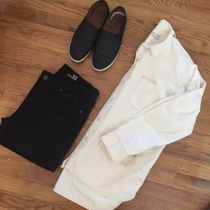 Madewell cream color utility button down top shirt