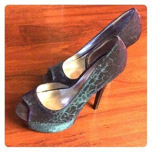 blue/purple hologram stiletto heel, worn once