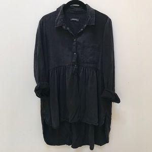 Zara Denim Collection Black Peplum Popover