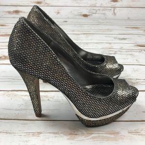d2866f8c8ee5fb Gianni Bini Shoes - NEW GIANNI BINI Snake Print Metallic Peep Toe Pump