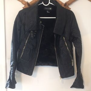 Moto jacket with fur