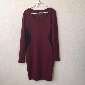 H&M Burgandy Long Sleeve Fitted Sheath Dress