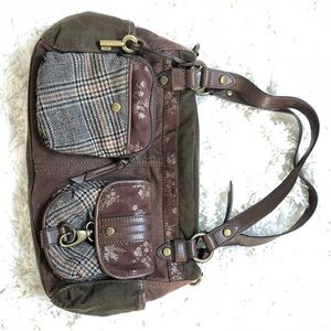 Fossil purse boho style, browns, plaids.