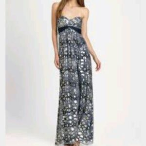 Bcbgmaxazria featherprint strapless maxi dress
