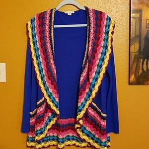 Multi-colored crochet cardigan