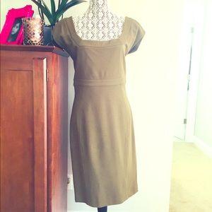 RARE Diane Von Furstenberg Olive ponte knit dress