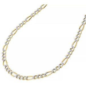 "10K Yellow Gold Diamond Cut Figaro Mens 24"" Chain"