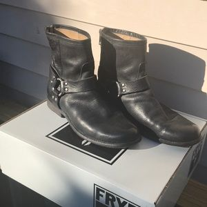 Frye black ankle boots, with back zipper, size 8.5