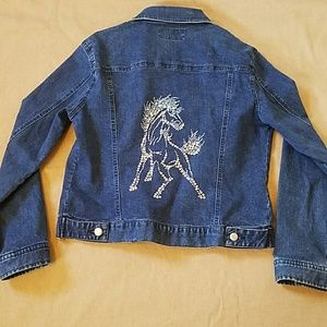 Old Navy Horse Design Cropped Denim Jacket