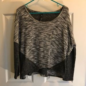 Black, white, and gray scoop neck sweater