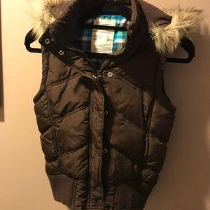 Jackets & Blazers - Like New Aeropostale Brown Puffer Vest with Hood