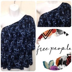 NWT Free People oversized off shoulder blue top