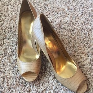 Shoes - Tan Peep Toe Pumps By Size 8.5