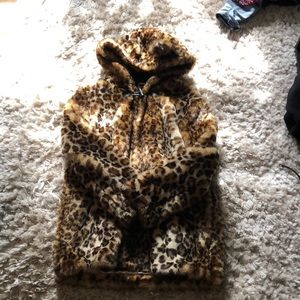 Fuzzy Leopard Print Coat