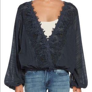 Free People Desert Sands Embroidered Top