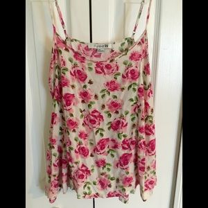 Forever 21 Pink&White Floral Flowy Tank Top Size:L