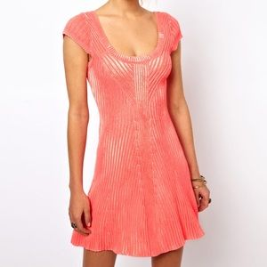 Free People Knitted Neon Pink Swing Dress