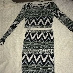 2 piece crop top and pencil skirt set