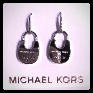 MK Cityscape Silver-Tone Padlock Drop Earrings
