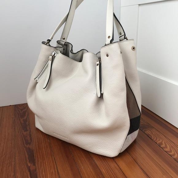 a2946197b1a Burberry Handbags - BURBERRY Maidstone Haymarket White Leather Bag
