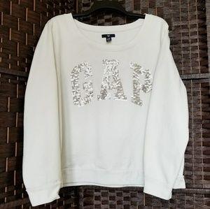 XL/XXL GAP Silver Sequin Logo Ivory Sweatshirt