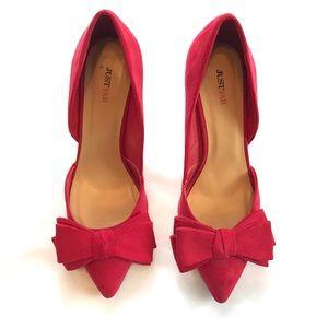 JustFab Red Bow heels