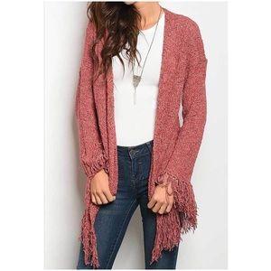 Sweaters - Fringed Cardigan