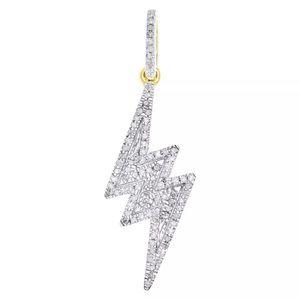 Real Gold & Diamond Lightening Bolt Pendant New
