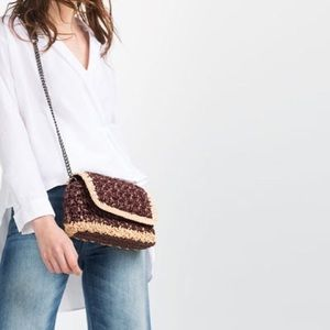 Zara Straw Crossbody Clutch Metal Chain Bag
