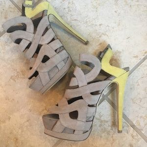 Shoemint Stella heels. Yellow/Beige