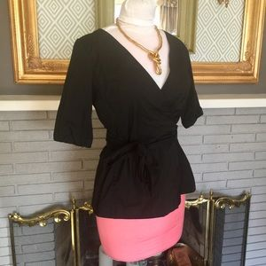 Banana Republic Black Wrap Blouse