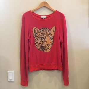 Wildfox Red Sweatshirt With Cheetah Graphic Size S