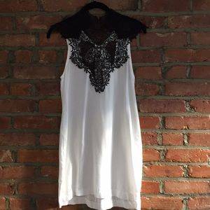 Lulu's White Minidress with Black Lace NWT