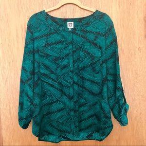Anne Klein Emerald Snakeskin Blouse L