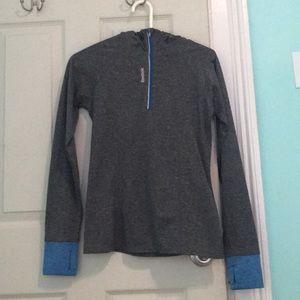 gray running hoodie