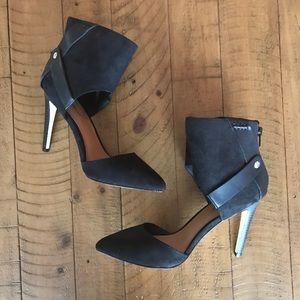 JustFab Suede Black Heels