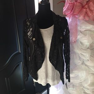 All black lace jacket with or without lace tank