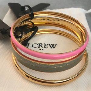 NWT J Crew bangles bracelets pink gold gray