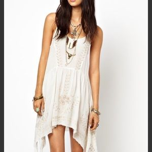 Free People Meadows Ivory Embroidered Slip Dress