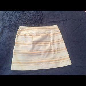 Jcrew white and gold mini skirt, size 2