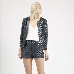 Topshop Pyramid Sequin Jacket & Short Set