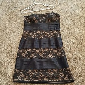 Black lace and satin cocktail dress