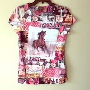 Multi colored cowgirl tee