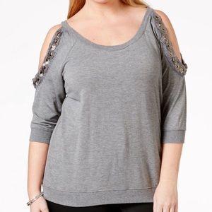 Gray Plus Size Amy Embellished Cold-shoulder Top