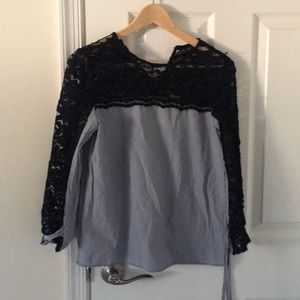 Zara Striped Top with lace detail