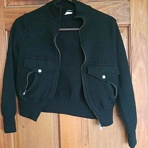 J. Crew Black Wool Bomber