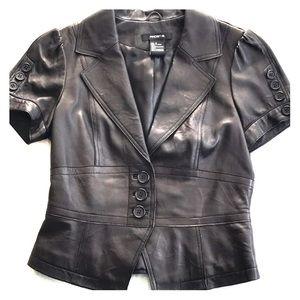Arden B black leather vest/jacket
