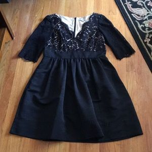 Eliza J black Mad Men midcentury lace dress